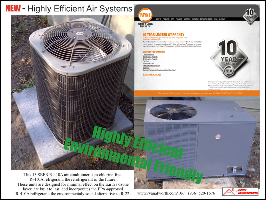 Picture and information on the 10 year warranty for the two Air Conditioner Systems at 106 Magnolia Lane, Conroe, Texas 77304
