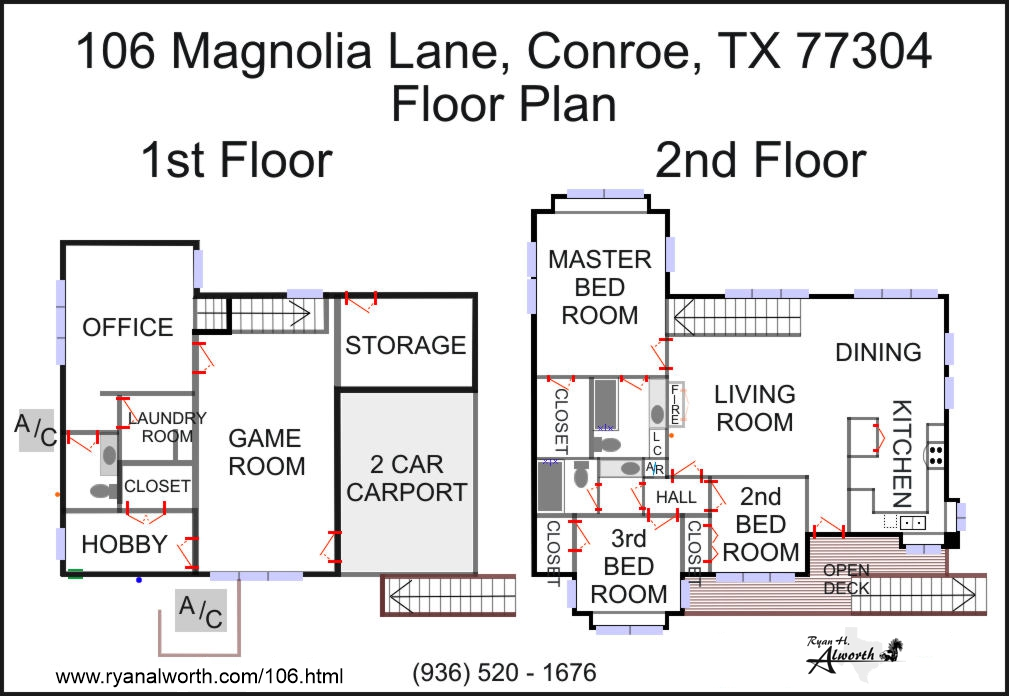 106 Magnolia Lane, Conroe, TX 77304 / Floor plan for this home for sale in Conroe, Texas