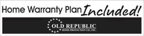 Old Repbulic Home Warranty Banner advertising the One Year Home Warranty offered with the home for sale at 106 Magnolia Lane, Conroe, Texas 77304